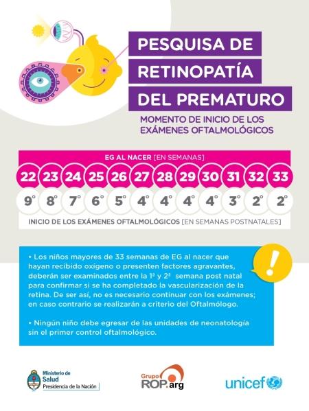 Autoadhesivo con recomendaciones sobre momento del primer examen oftalmológico